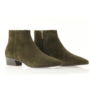 Aquatalia Fire Suede Booties Olive Green